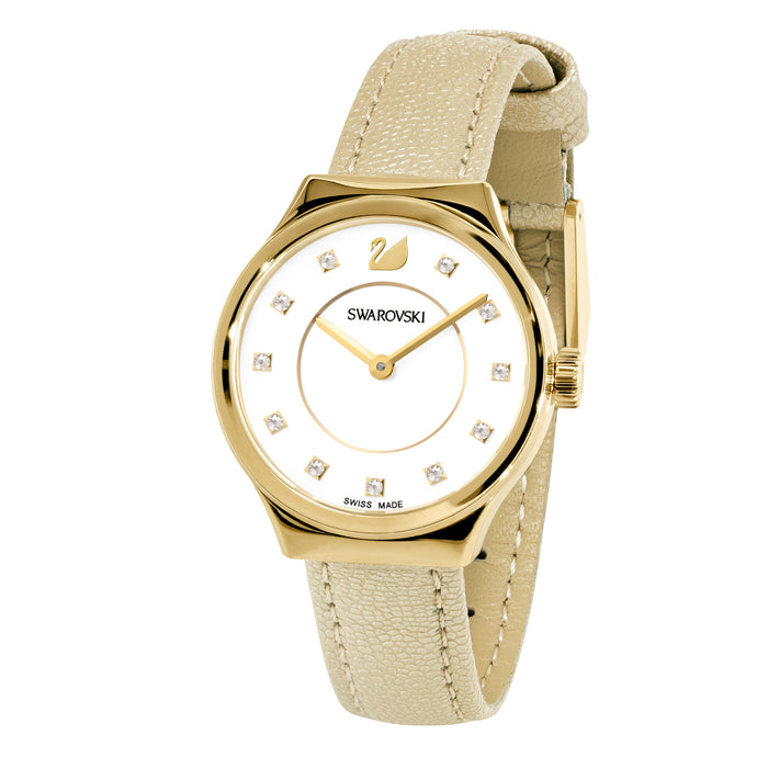 Dreamy Watch, Leather strap, Yellow, Gold-tone PVD