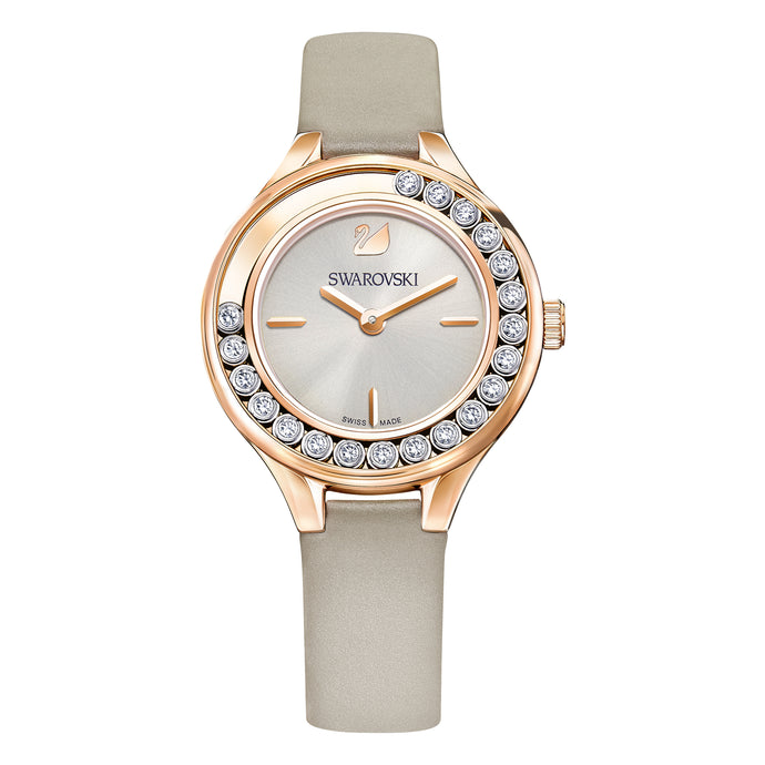 Lovely Crystals Mini Watch, Leather strap, Gray, Rose-gold tone PVD