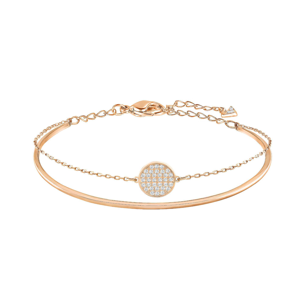 Swarovski Ginger Bangle, White, Rose Gold Plated