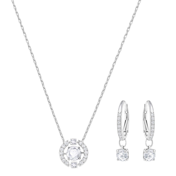Swarovski Sparkling Dance Round Set, Small, White, Rhodium Plating