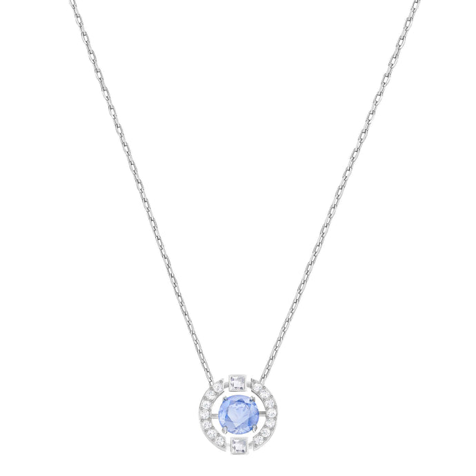 Swarovski Sparkling Dance Round Necklace, Blue, Rhodium Plated