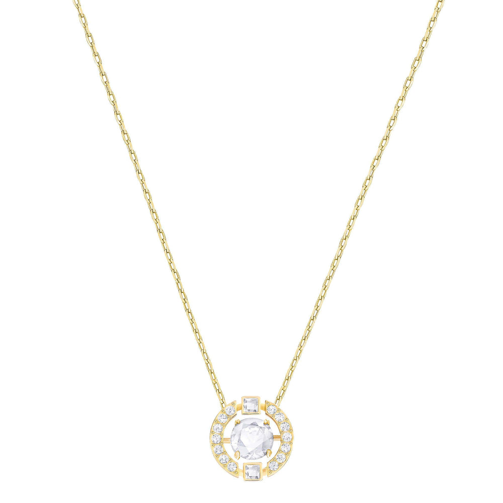 Swarovski Sparkling Dance Round Necklace, White, Gold Plated