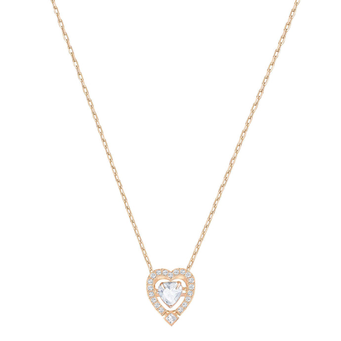 Swarovski Sparkling Dance Heart Necklace, White, Rose Gold Plated