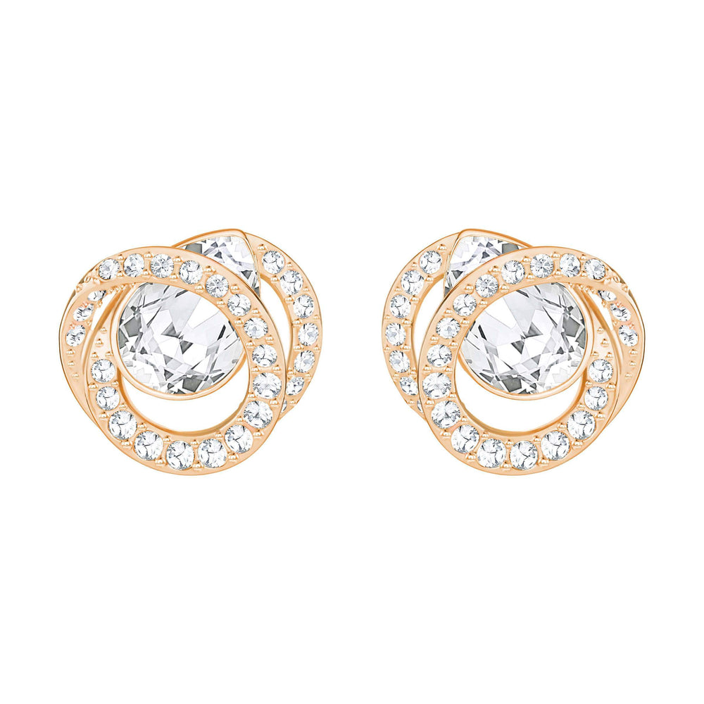 Swarovski Generation Pierced Earrings, White, Rose Gold Plating