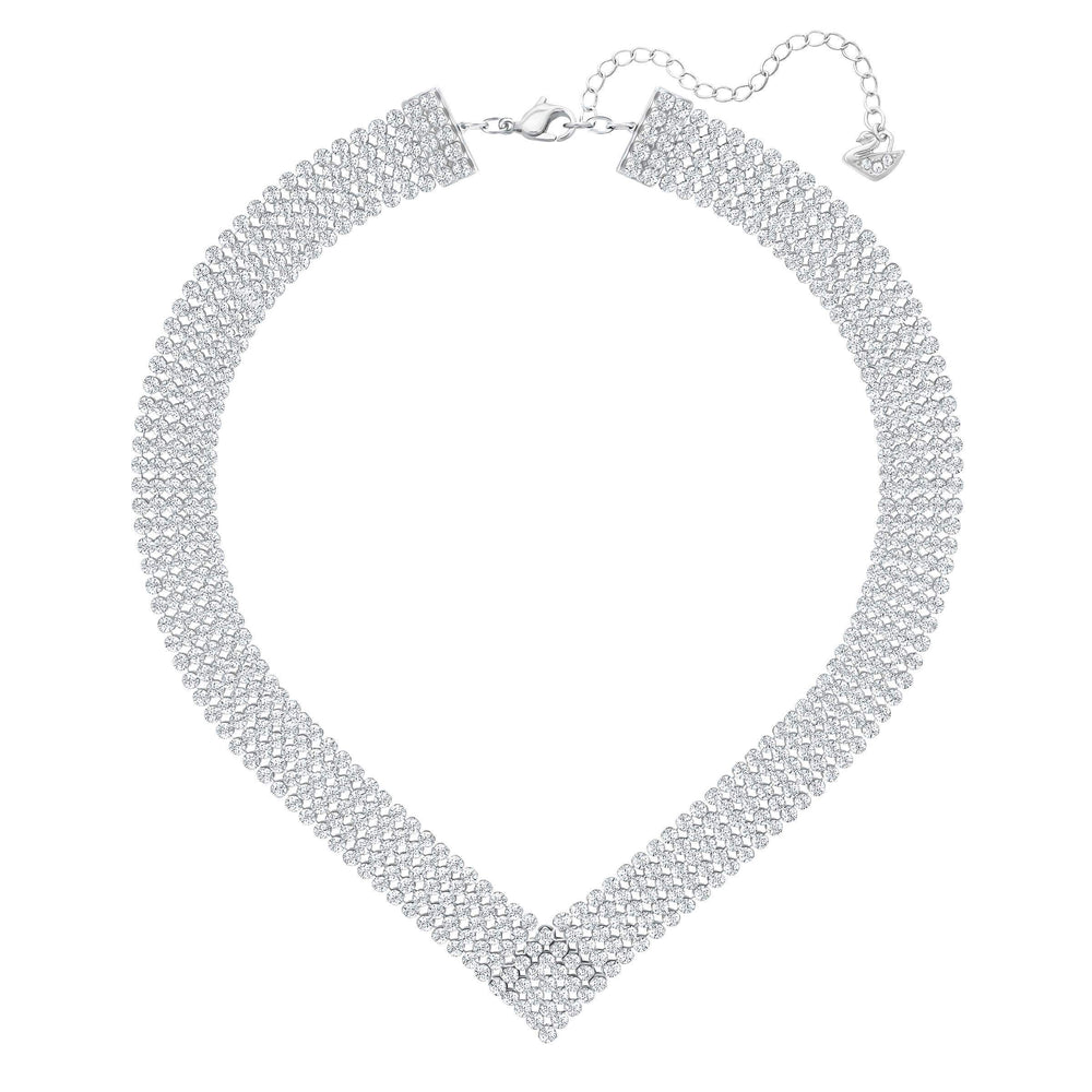 Swarovski Fit Necklace, V Shaped, White, Palladium Plated