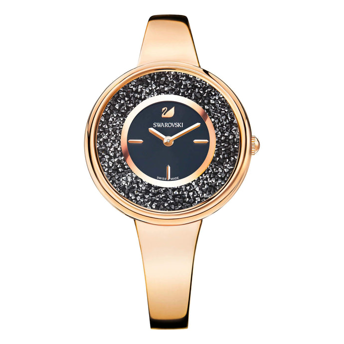 Crystalline Bracelet Watch, Black, Rose Gold Tone
