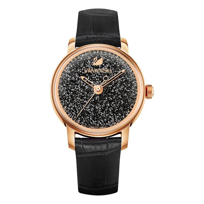 Crystalline Hours Watch, Black, Rose Gold Tone