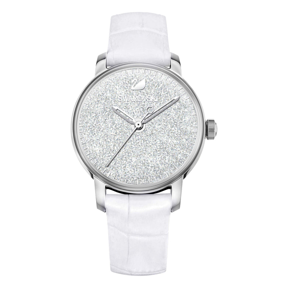 Crystalline Hours Watch, White, Stainless Steel