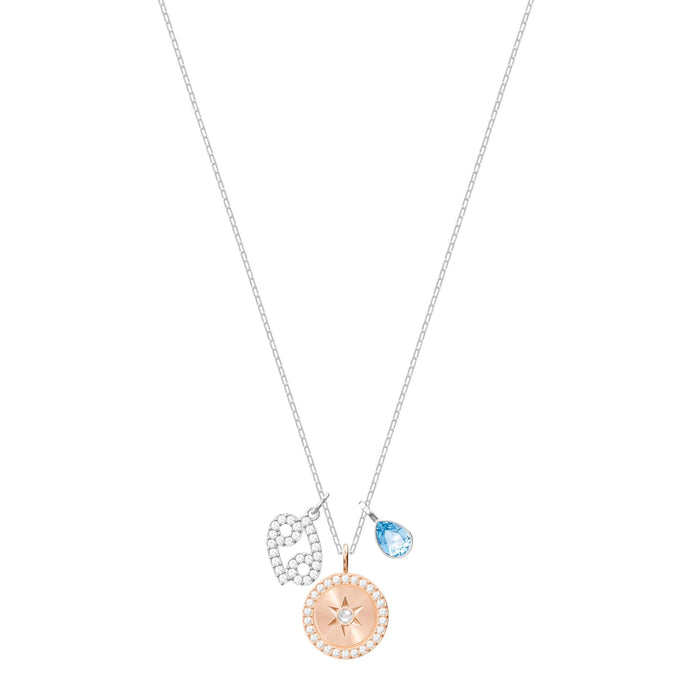 Zodiac Pendant, Cancer, Aqua, Rhodium Plating
