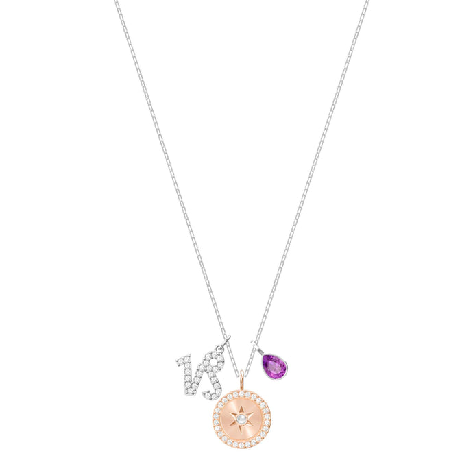 Zodiac Pendant, Capricorn, Purple, Rhodium Plating