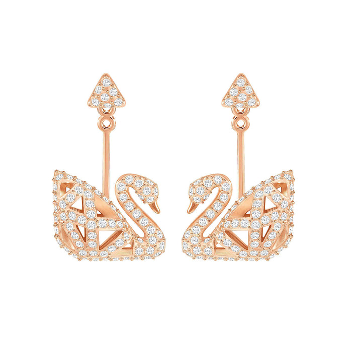 Facet Swan Pierced Earrings, White, Rose Gold Plating