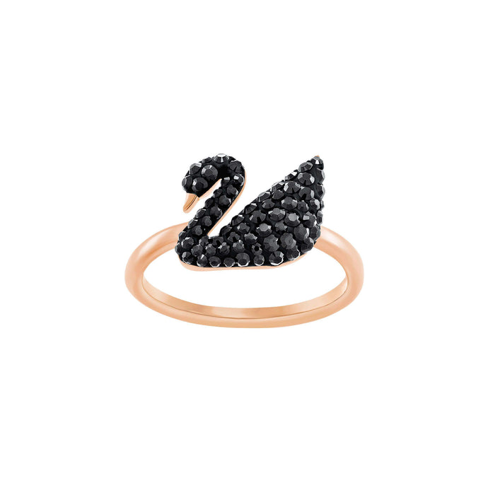 Swarovski Iconic Swan Ring, Black , Rose Gold Plated