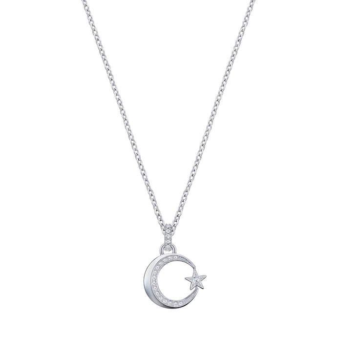 Crescent Star Pendant, White, Rhodium plated