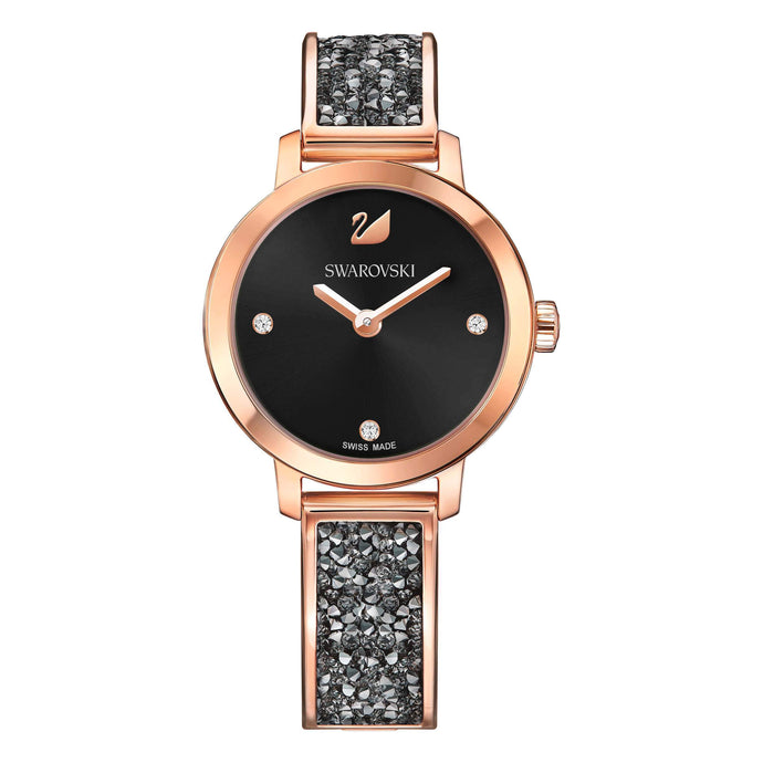 Cosmic Rock Watch, Metal Bracelet, Black, Rose Gold Tone