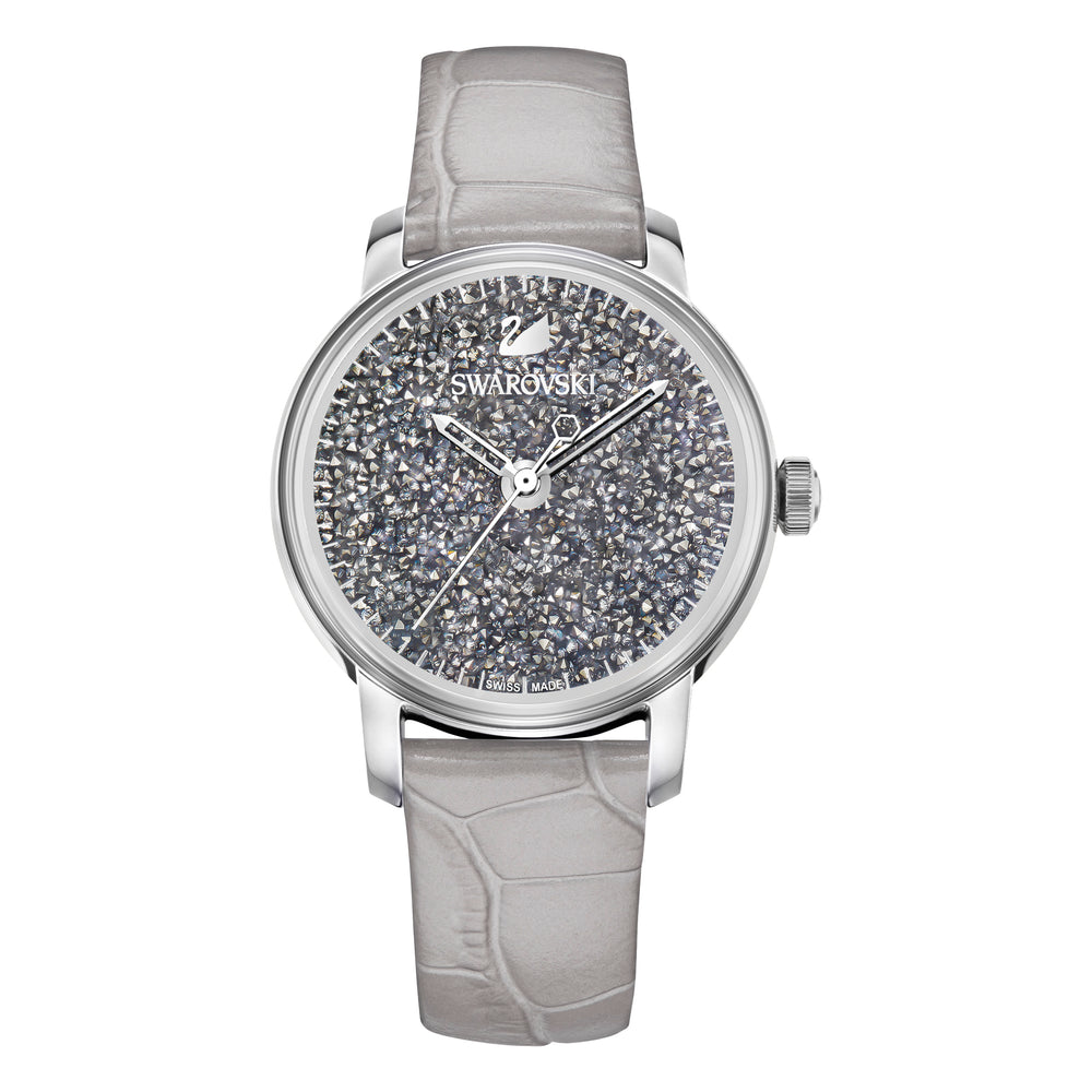 Crystalline Hours Quartz Watch, Leather strap, Gray, Stainless steel
