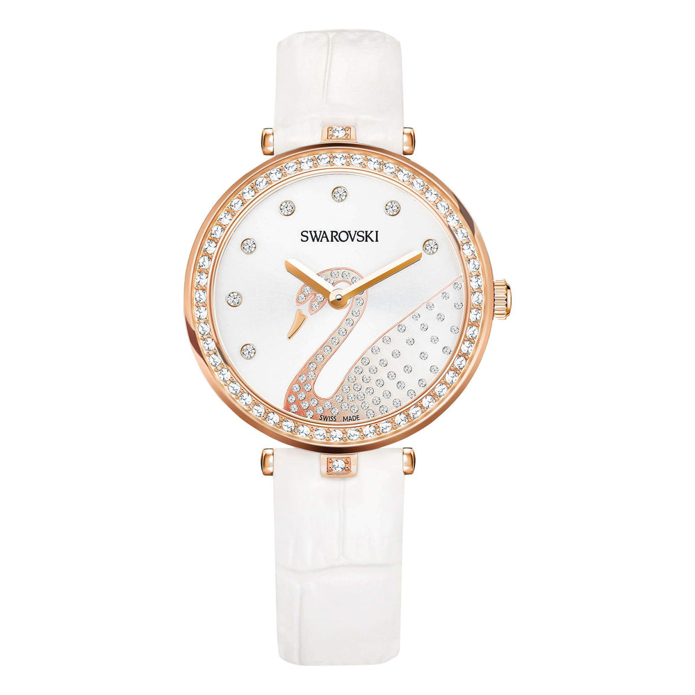 Aila Dressy Lady Swan Watch, Leather Strap, White, Rose Gold Tone