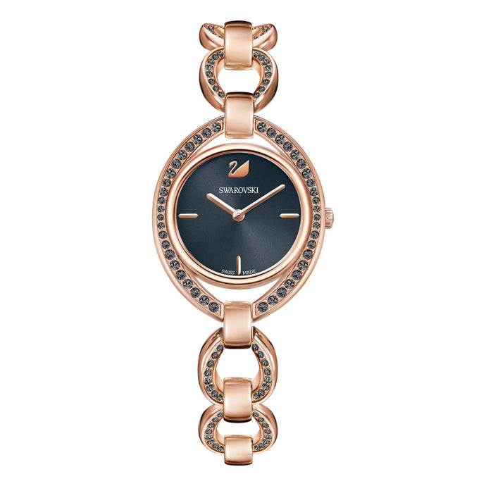 Swarovski Stella Watch, Metal Bracelet, Dark Gray, Rose Gold Tone