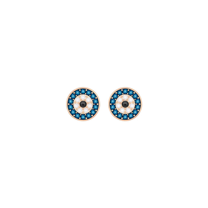 Swarovski Crystal Wishes Evil Eye Pierced Earrings, Multi-Colored, Rose Gold Plating