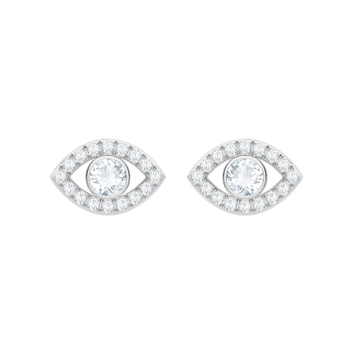 Luckily Evil Eye Pierced Earrings, White, Rhodium Plating