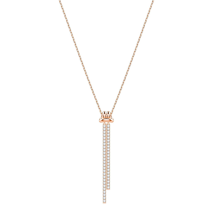 Swarovski Lifelong Y Pendant, White, Rose Gold Plating