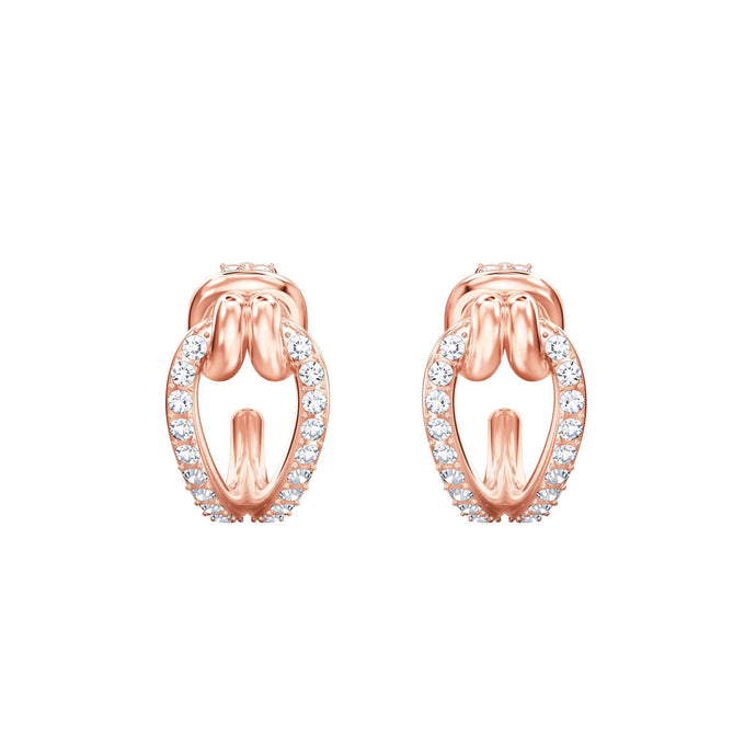 Swarovski Lifelong Hoop Pierced Earrings, Small, White, Rose Gold Plating
