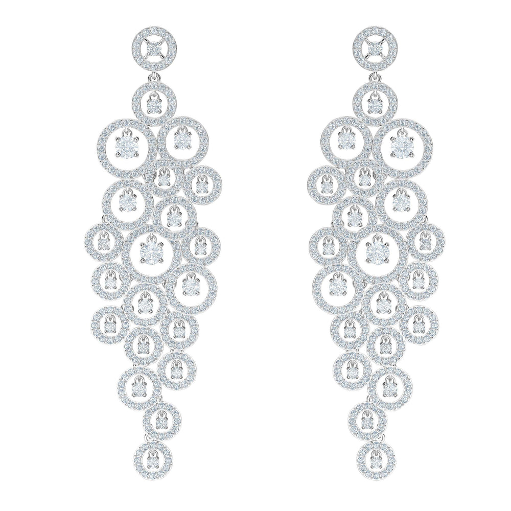 Swarovski Creativity Chandelier Pierced Earrings, White, Rhodium Plating