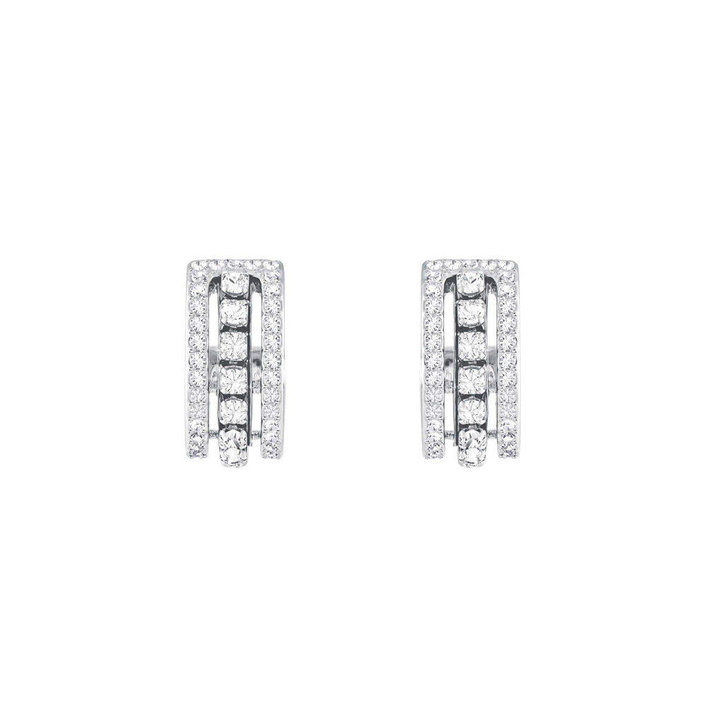 Further Pierced Earrings, White, Rhodium Plating