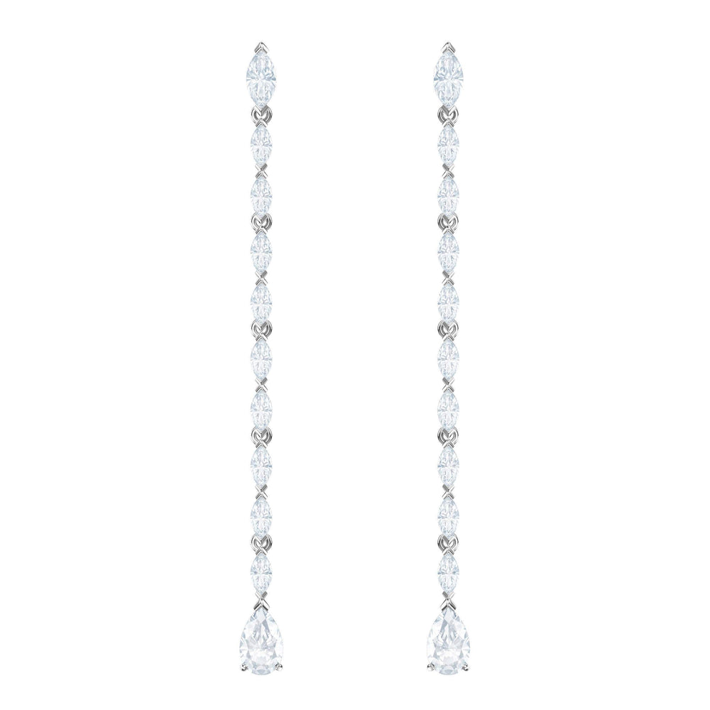 Swarovski Louison Pierced Earrings, Long, White, Rhodium Plating