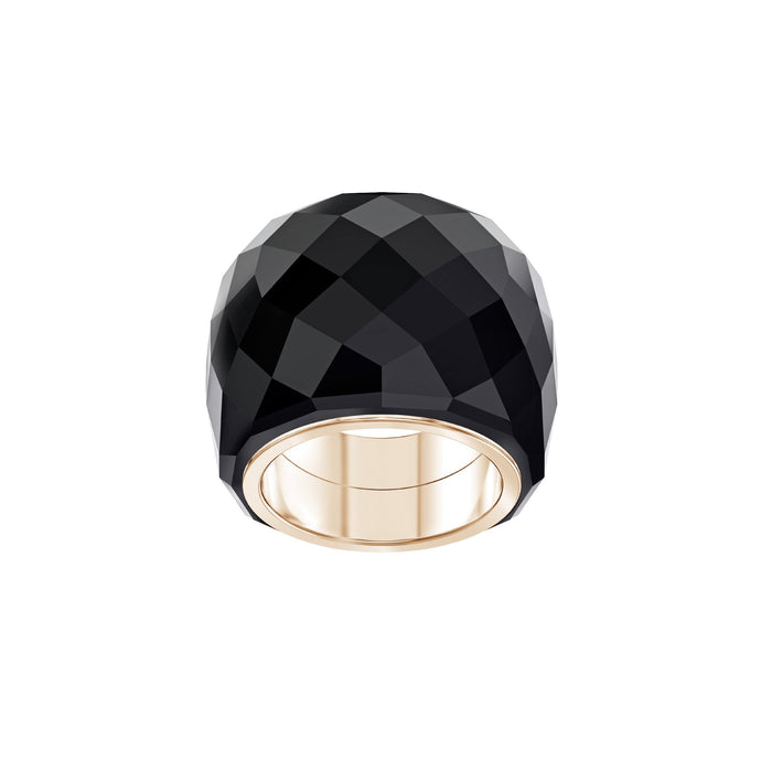 Swarovski Nirvana Ring, Black, Rose-gold tone PVD