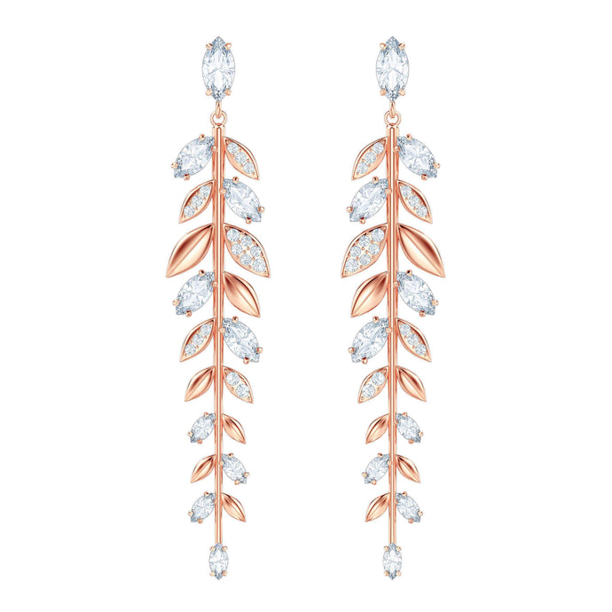 Mayfly Pierced Earrings, Long, White, Rose Gold Plating