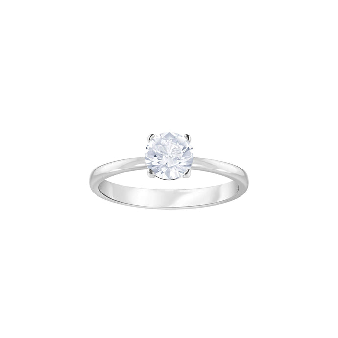 Swarovski Attract Round Ring, White, Rhodium Plating