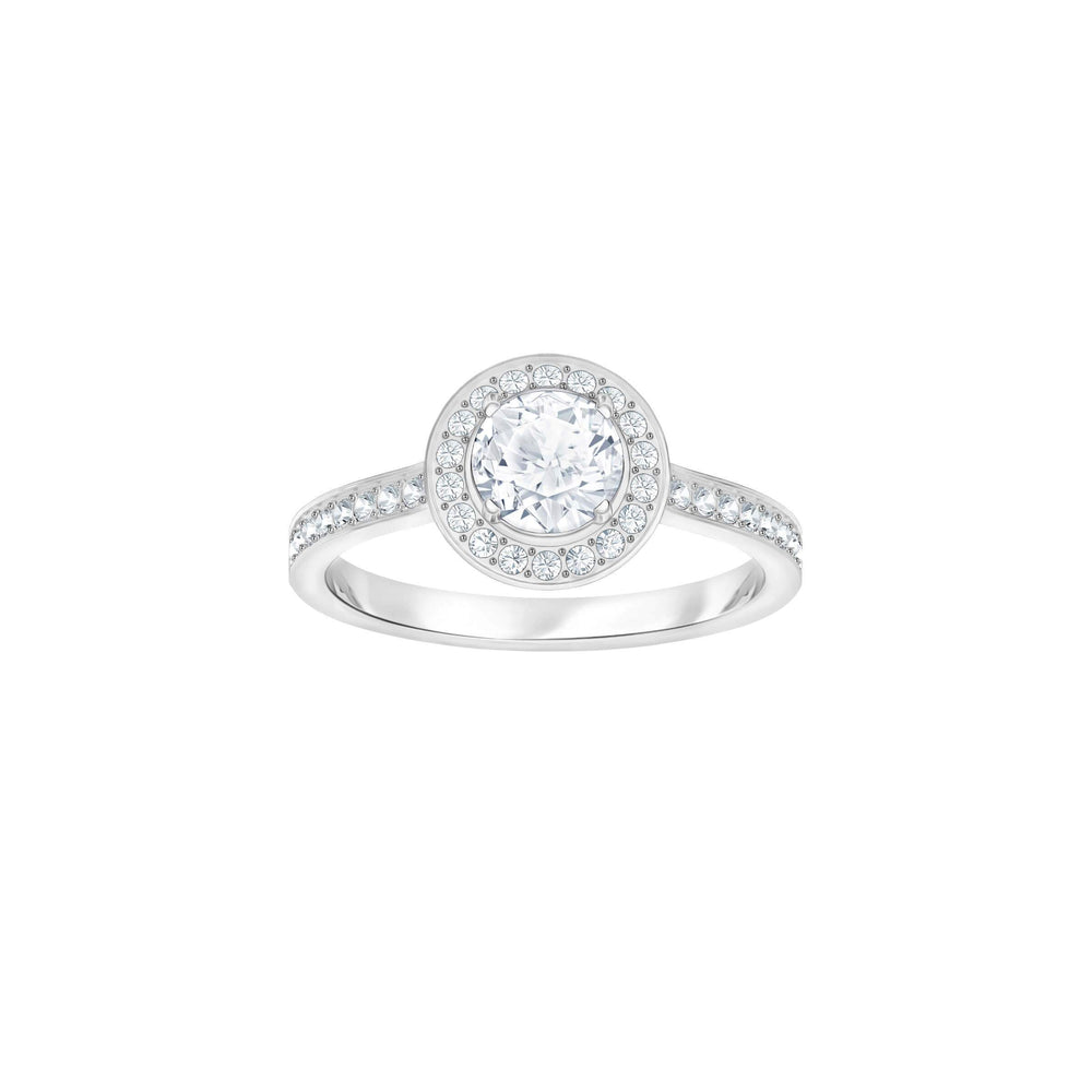 Swarovski Attract Light Round Ring, White, Rhodium Plating