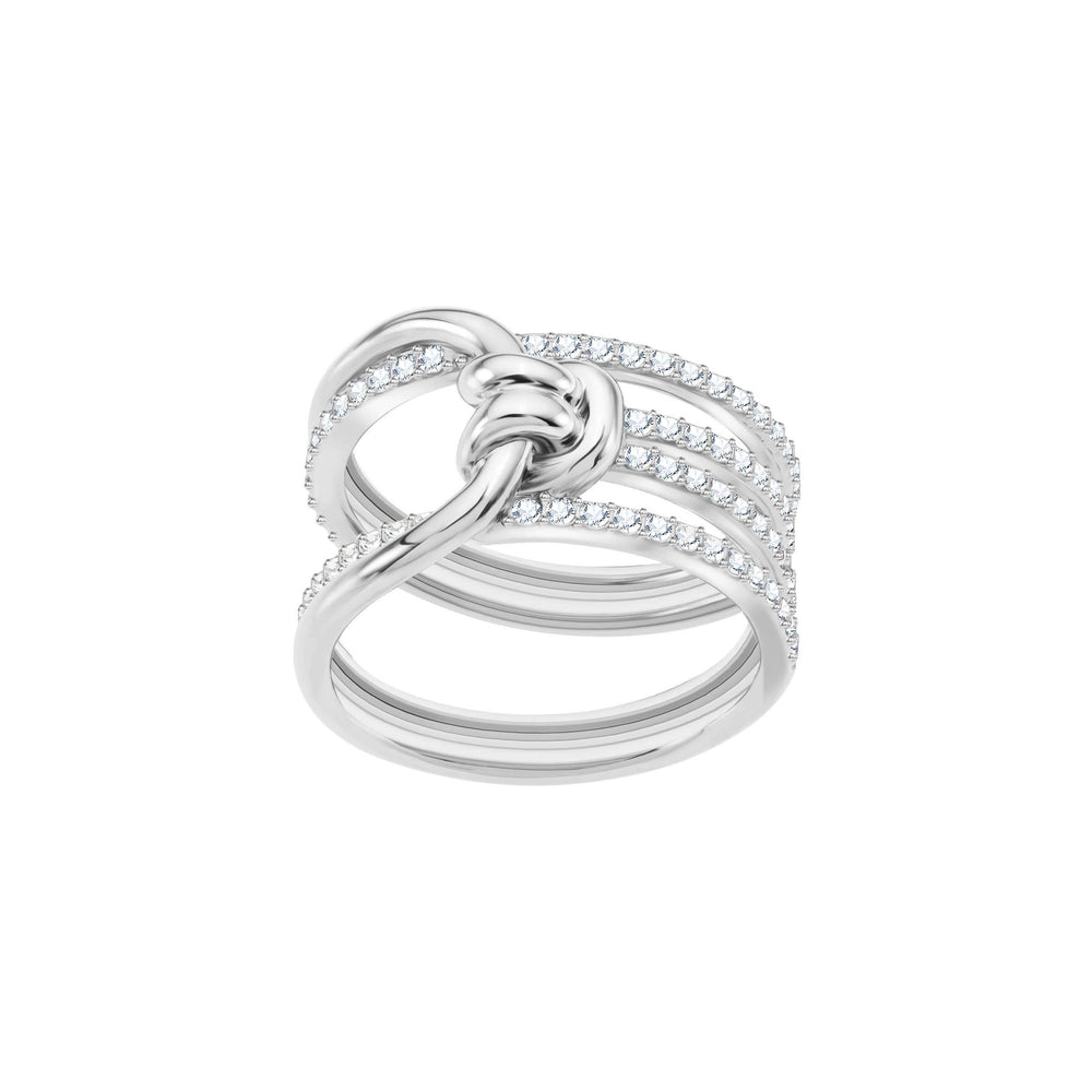 Swarovski Lifelong Wide Ring, White, Rhodium Plating