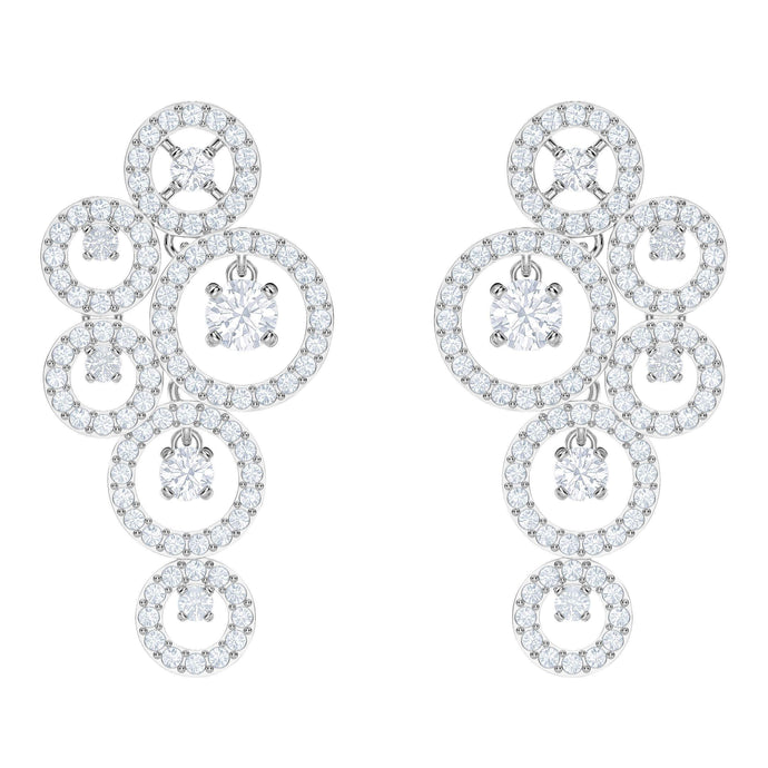 Creativity Pierced Earrings, White, Rhodium Plating