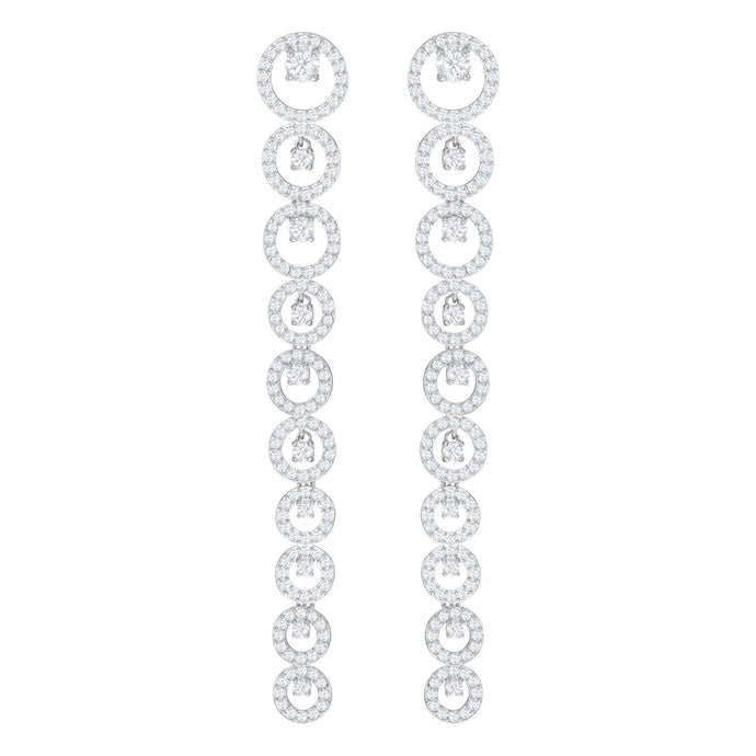 Creativity Pierced Earrings Long, White, Rhodium Plating