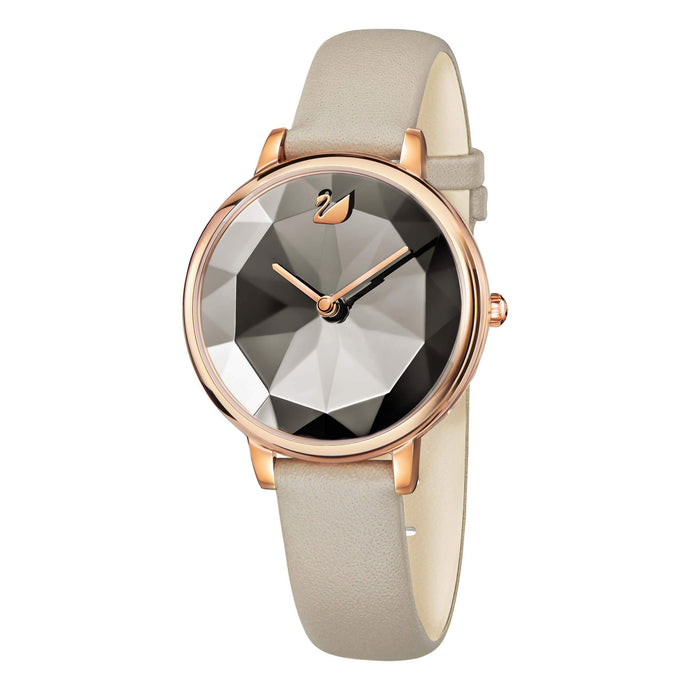 Crystal Lake Watch, Leather Strap, Gray, Rose Gold Tone
