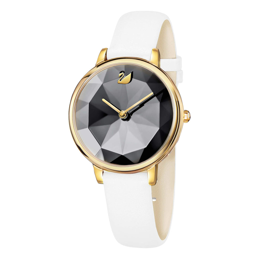 Swarovski Crystal Lake Watch, Leather Strap, White, Gold Tone