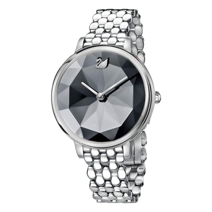 Swarovski Crystal Lake Watch, Metal Bracelet, Dark Gray, Silver Tone