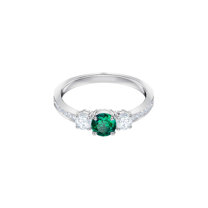Attract Trilogy Round Ring, Green, Rhodium Plating