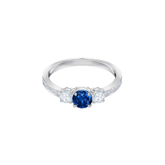 Swarovski Attract Trilogy Round Ring, Blue, Rhodium Plating