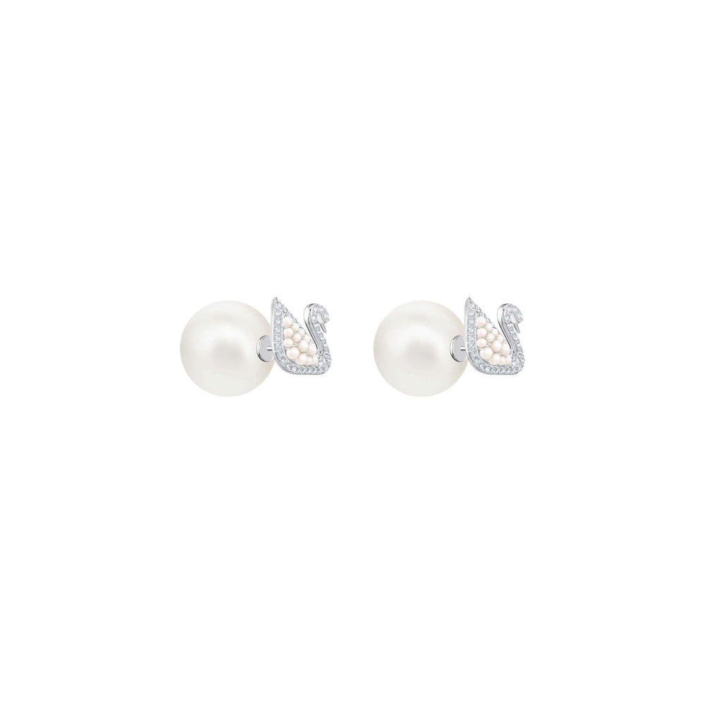 Iconic Swan Stud Pierced Earrings, White, Rhodium Plating