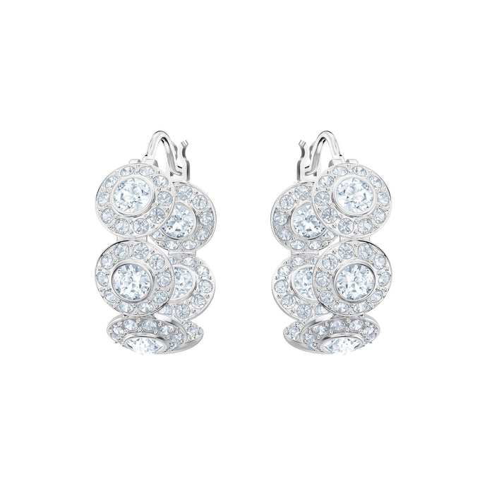Swarovski Angelic Hoop Pierced Earrings, White, Rhodium Plating