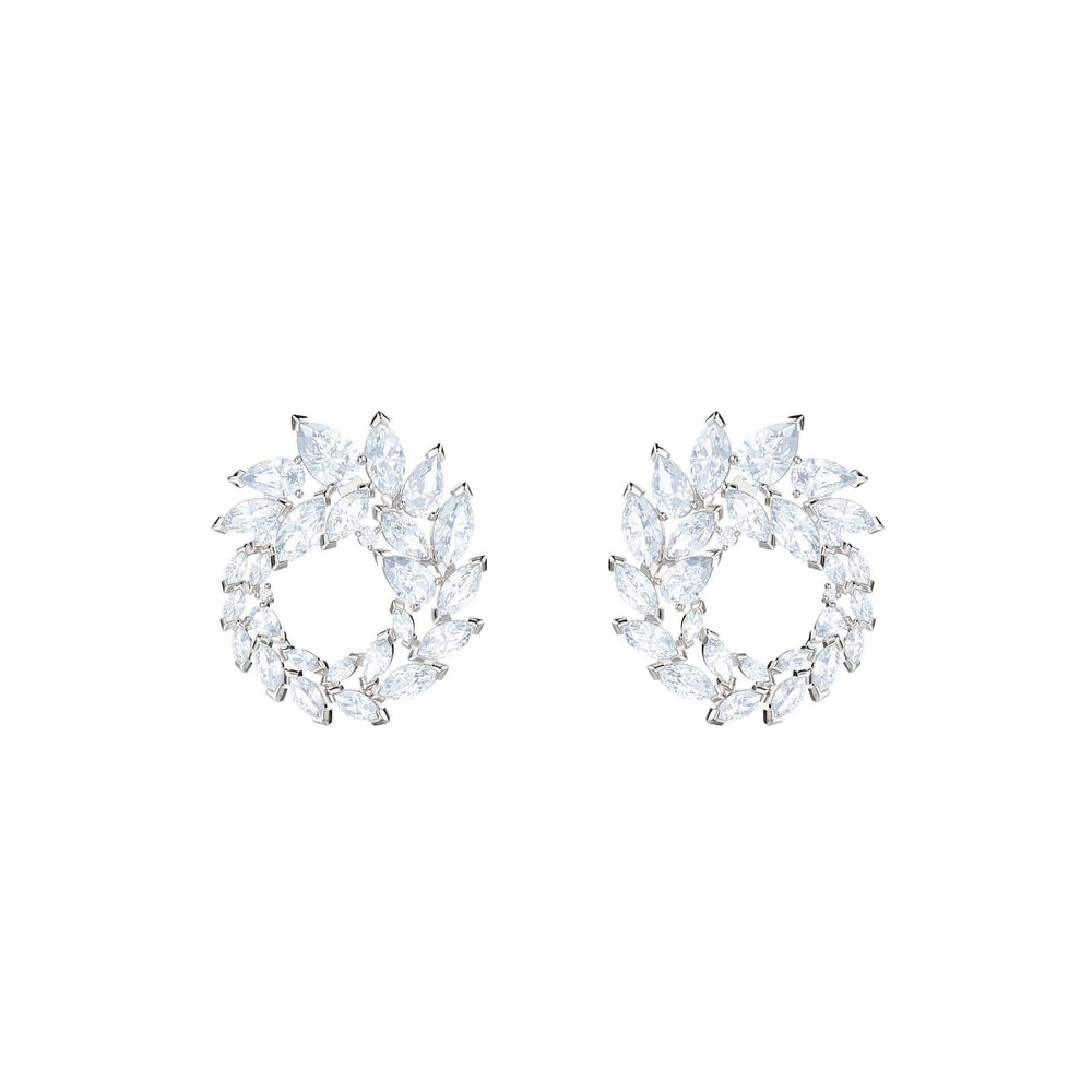 Louison Hoop Pierced Earrings, White, Rhodium Plating