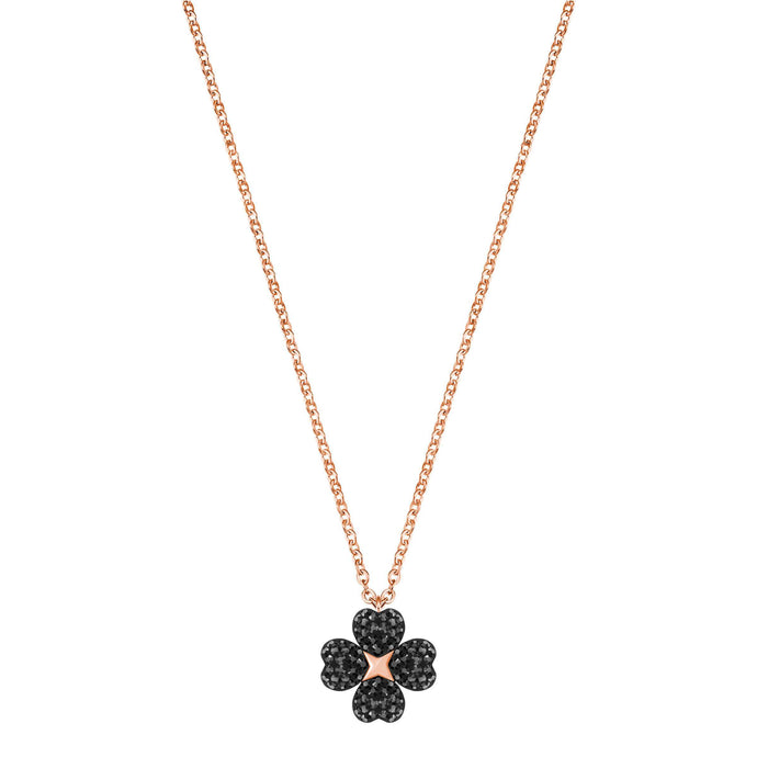 Swarovski Latisha Flower Pendant, Black, Rose Gold Plating