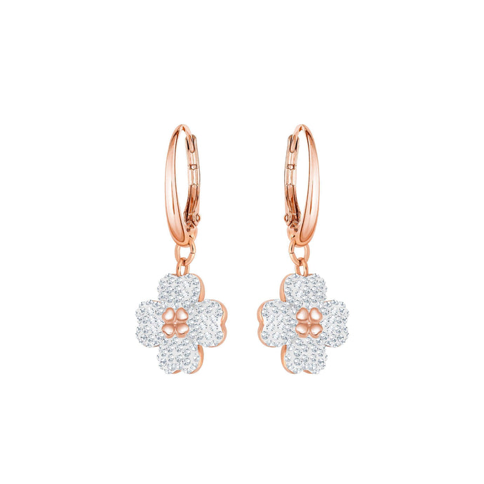 Swarovski Latisha Pierced Earrings, White, Rose Gold Plating
