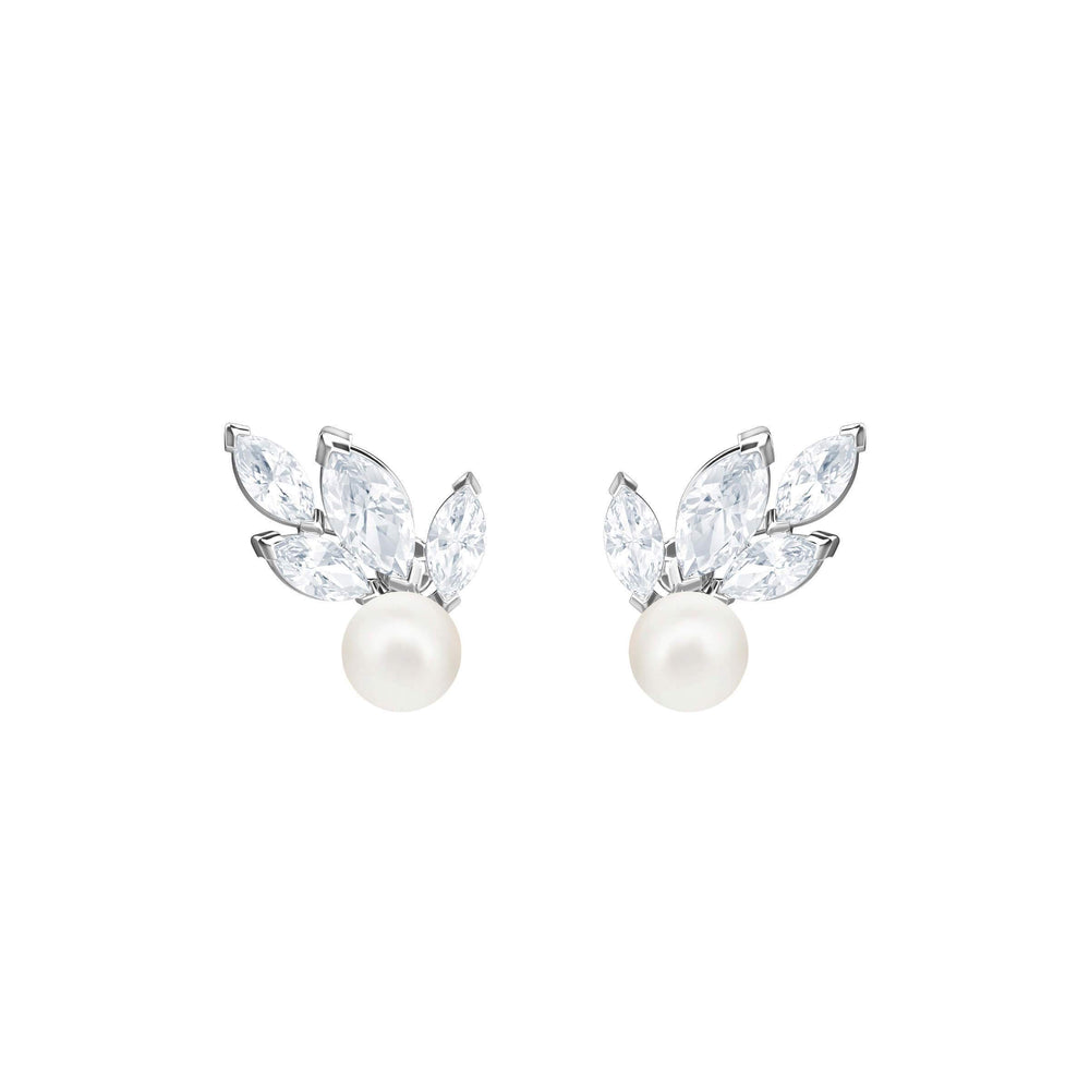 Louison Pearl Pierced Earrings, White, Rhodium Plating