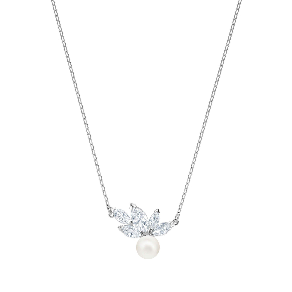 Louison Pearl Pendant, White, Rhodium Plating