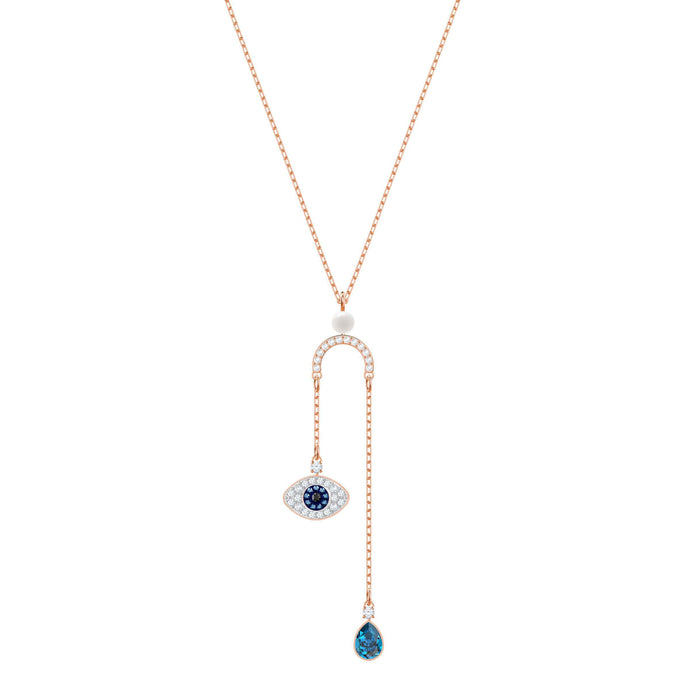 Swarovski Duo Evil Eye Y Necklace, Multi-Colored, Rose Gold Plating