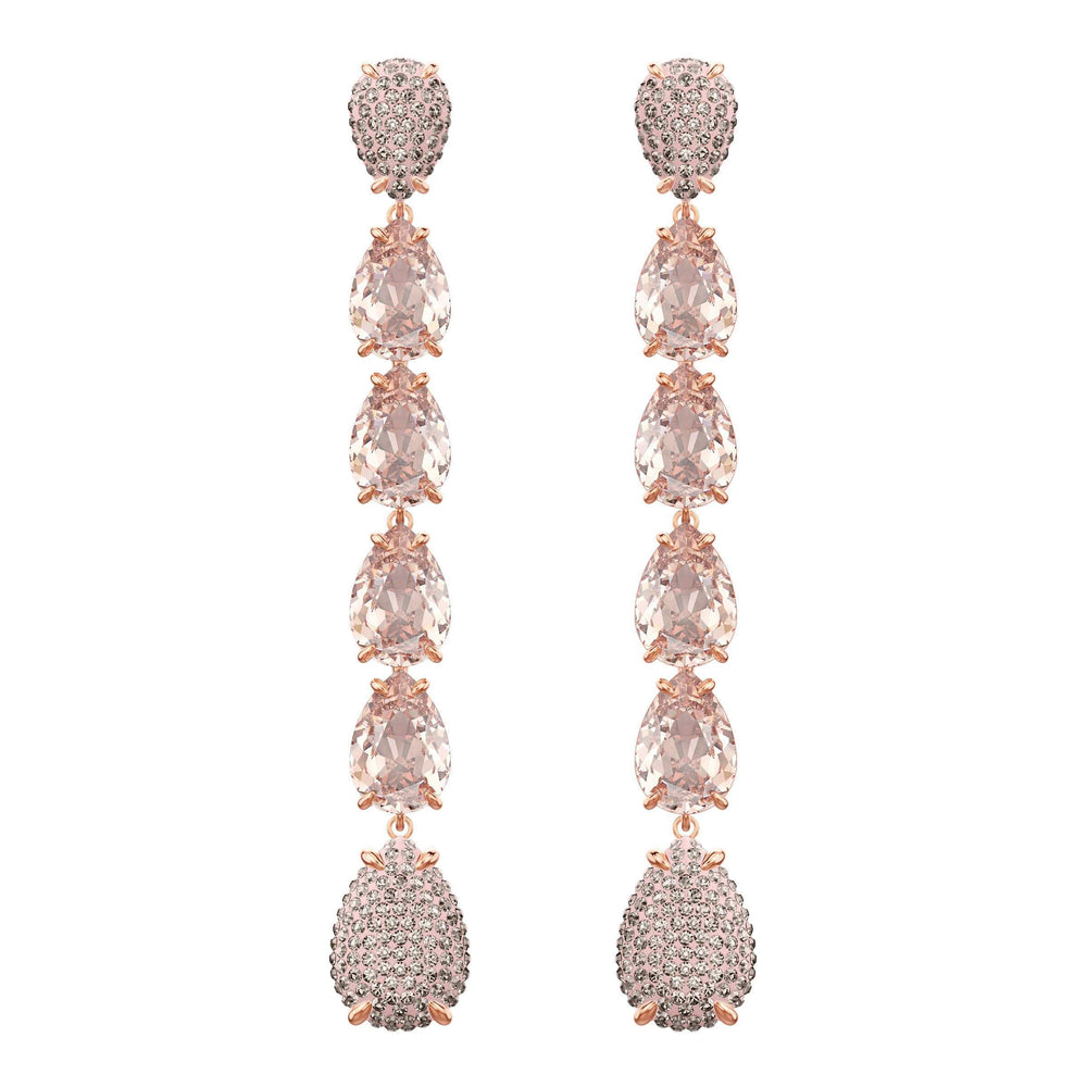 Swarovski Mix Pierced Earrings, Pink, Rose Gold Plating