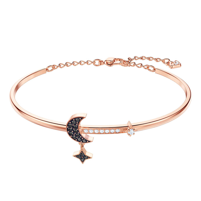 Duo Moon Bangle, Medium, Black, Rose Gold Plating